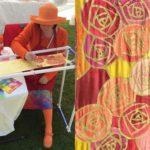 Renne Emiko Brock Painting on a silk scarf at Purple Haze Daze